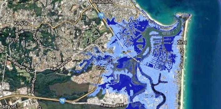FORECAST: Worst-case sea level rise flooding from Maroochydore to Wurtulla. The dark blue is the 2013 worst-case sea level rise of 0.74m. The light blue is the expanded, 2017 worst-case sea level rise of 2m.