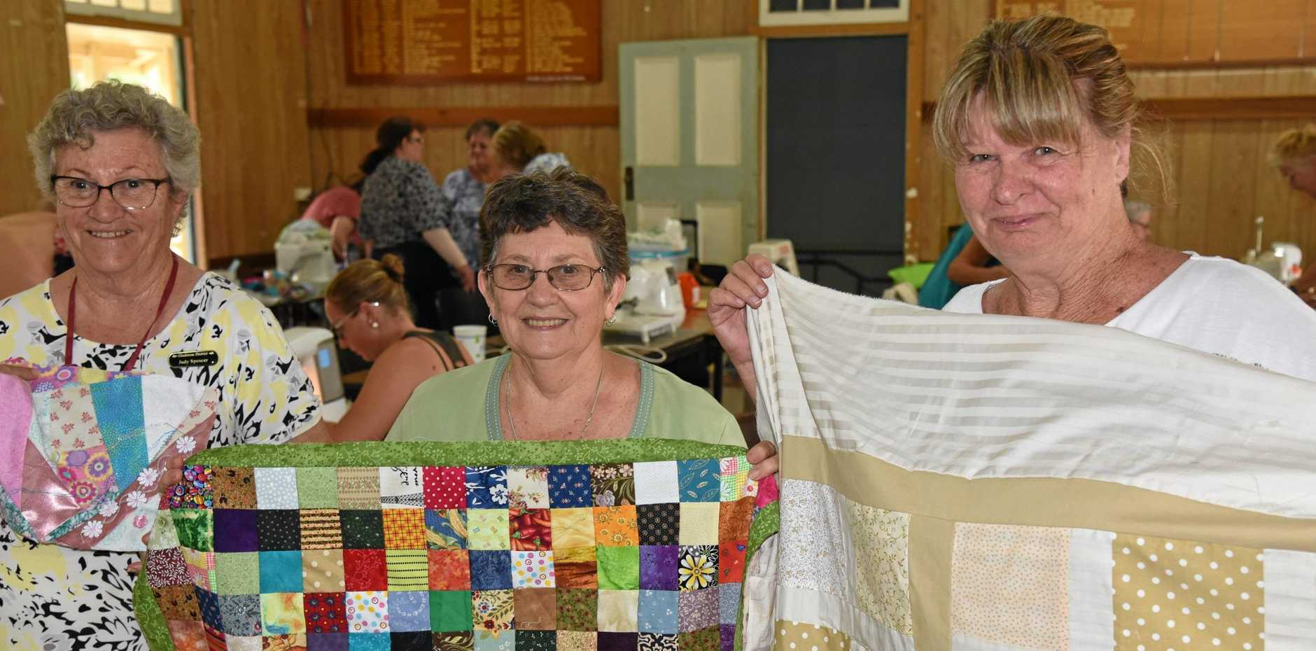 STITCHED UP: Judy Spencer, Ann Vaughan and Pam Whitley at the Material Girls retreat.