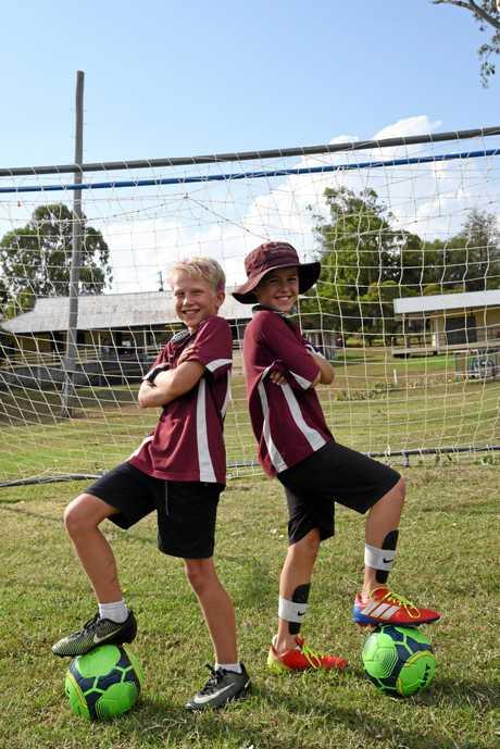 Monto Soccer Club players Jackson Palthorpe and Joel Stark.