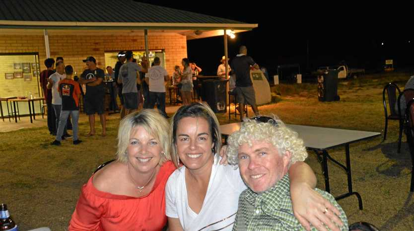 THANK YOU: Jolene McLellan, Jen Wren and Nick Nelson at the Ballandean Football Club fundraiser evening and fireys thank you on Saturday night.