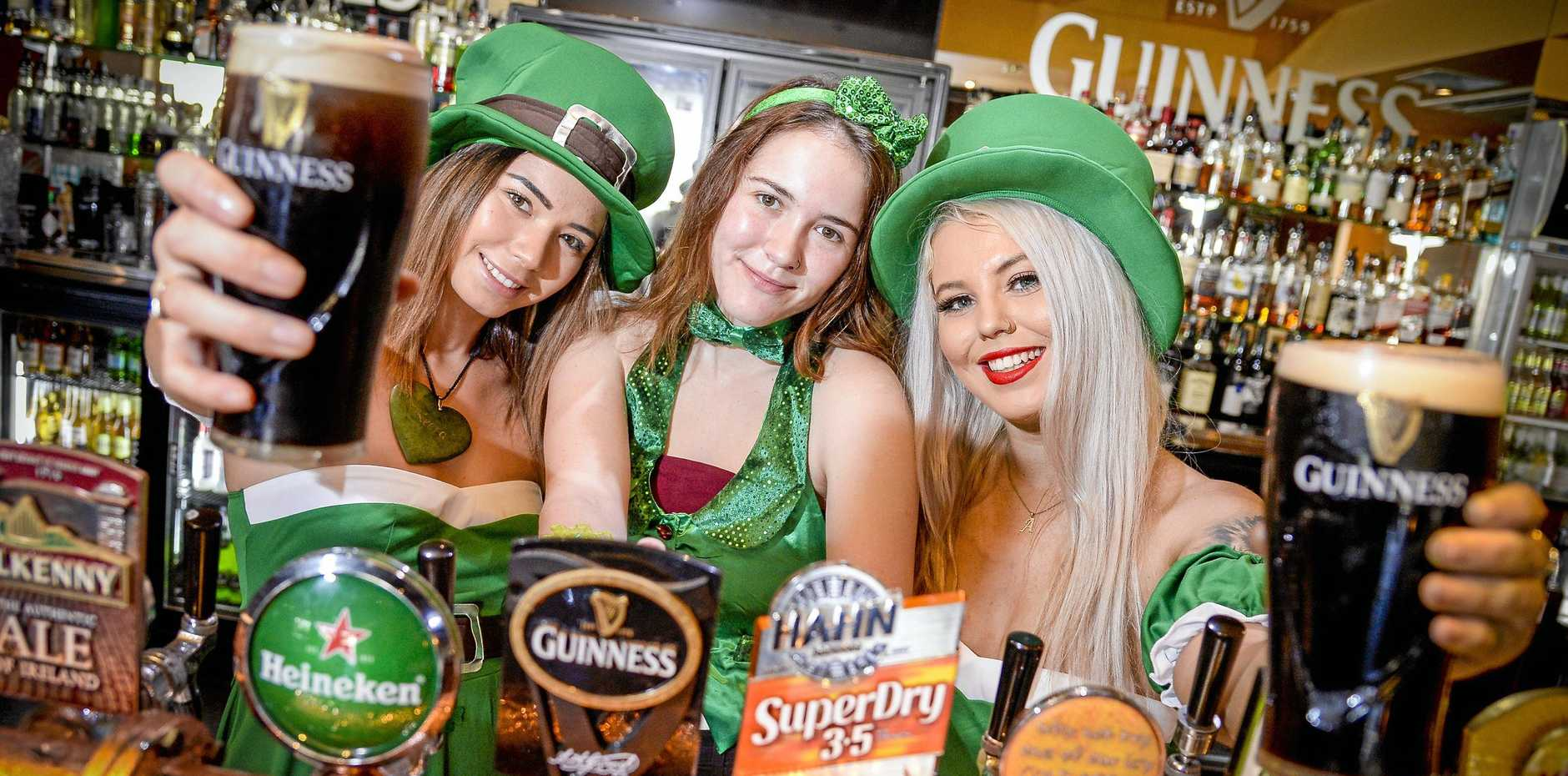 Shakeera Ututaonga, Kayla Hetherington and Amie Thompson from Dicey's Gladstone are looking forward to a weekend of celebrations for St Patrick's Day.