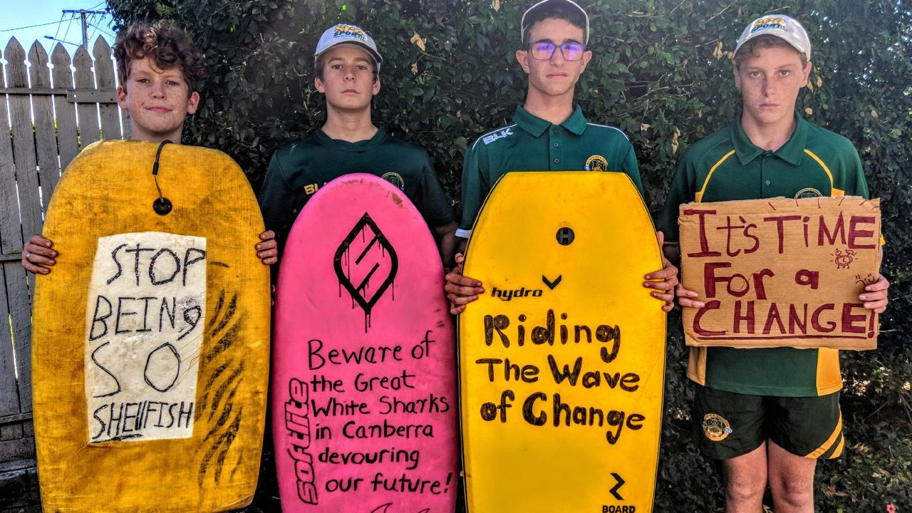 Finn and Bergen O'Neill, Fletcher Giuliana and Morne Combrinck are joining the School Strike for Climate in Brisbane.