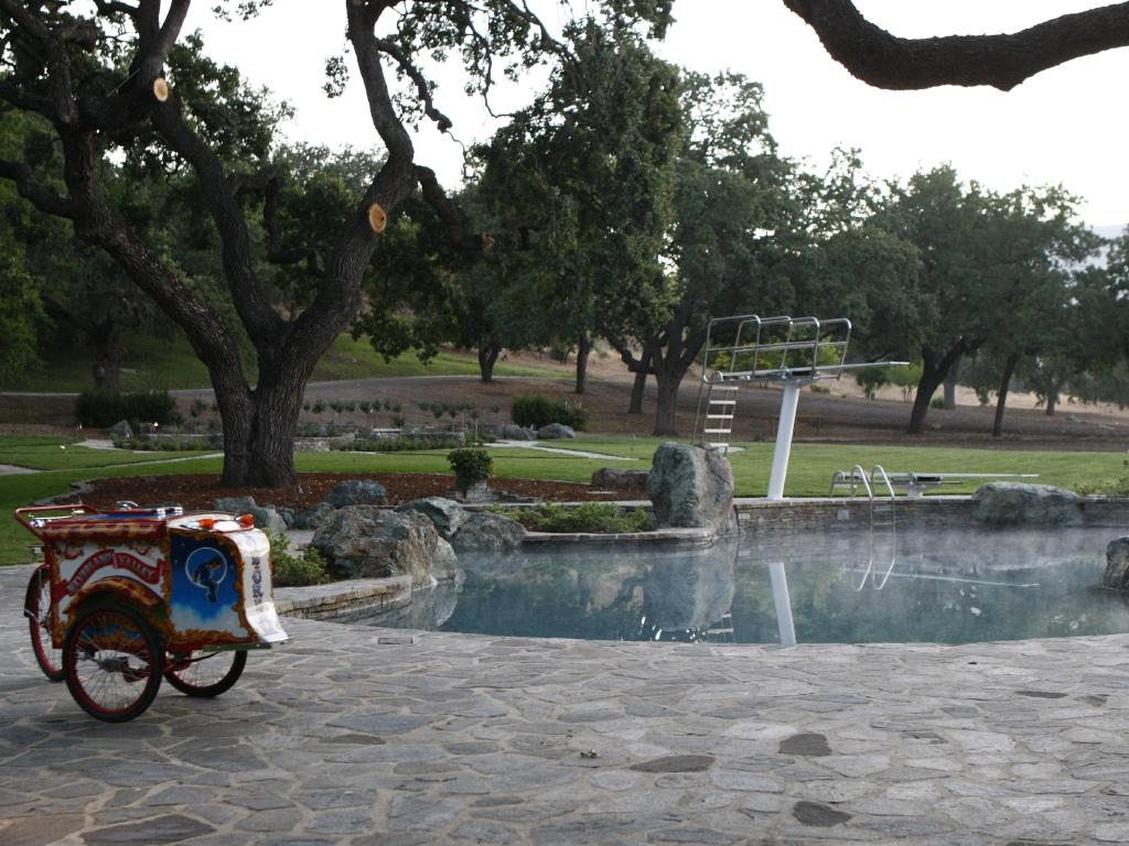 An outdoor pool with a diving board at the ranch. Picture: Trae Patton/NBC/NBCU Photo Bank/Getty Images