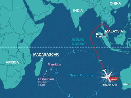 Mapping by the Rakyat Post showing the suspected crash location in relatoin to Malaysia and Madagascar. Picture: Rakyat Post