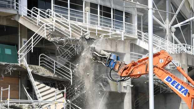 Demolition work is seen underway at Allianz Stadium in Sydney yesterday. Picture: Dan Himbrechts/AAP