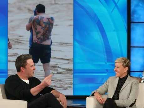 "Affleck acknowledged the reaction from the public to his phoenix tatt was ""not so much positive"". Picture: Twitter/The Ellen DeGeneres Show"