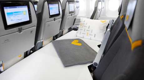 On sale from today, a UK airline will sell sleeper seats in economy. Picture: Thomas Cook Airlines