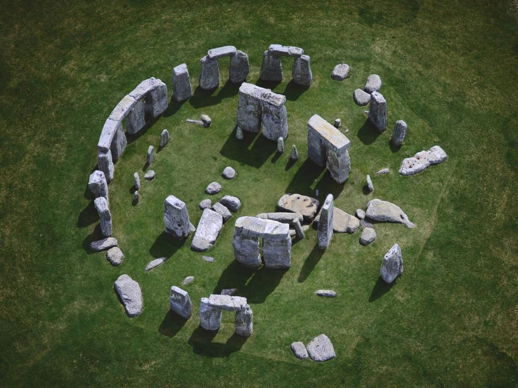Aerial view of Stonehenge ca 3000 B.C. to 1000 B.C.