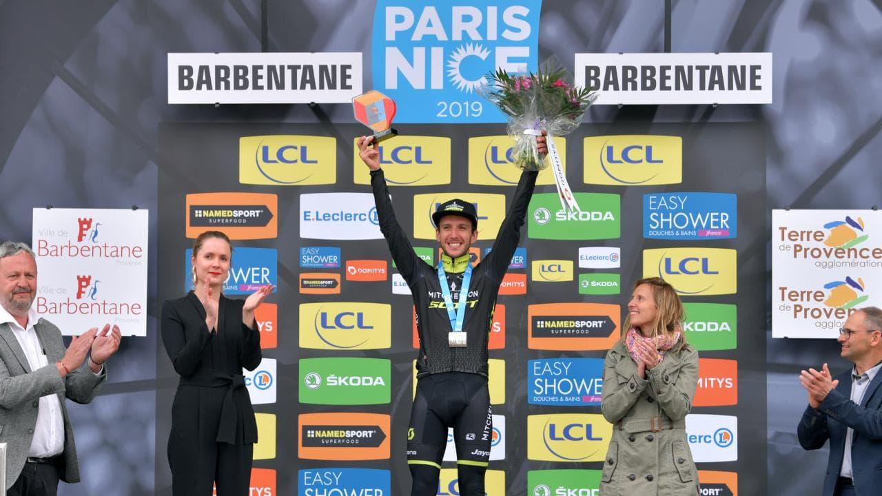 Simon Yates celebrates on the podium in Nice. Picture: Getty
