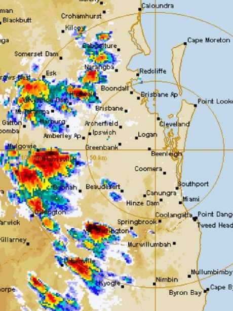 Storms track across southeast Queensland.