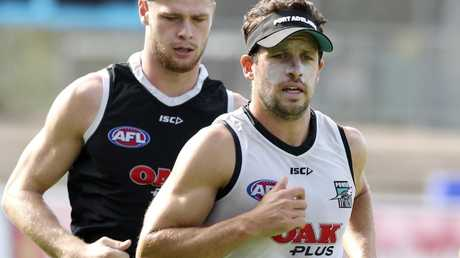 Travis Boak is enjoying a return to the midfield. Picture: Sarah Reed