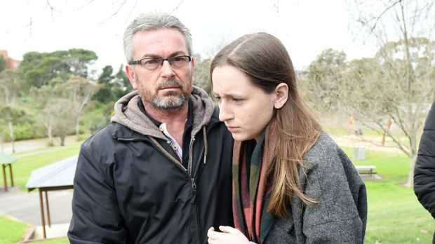 Borce Ristevski with his daughter Sarah at a press conference in the days after Karen Ristevski was killed. Picture: Tracey Nearmy/AAP