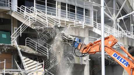 Demolition work is seen underway at Allianz Stadium in Sydney yesterday. Picture: Dan Himbrechts/AAP