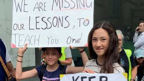 Lily Caddle (rear) said she wanted to teach the PM a lesson. Picture: Benedict Brook