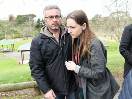 Borce Ristevski moments after Seven News reporter Cameron Baud asked: 'Did you kill your wife?' Picture: Tracey Nearmy/AAP