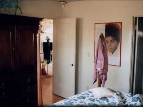 Another bedroom at the ranch featuring portraits of Jackson on the walls. Picture: Leaving Neverland