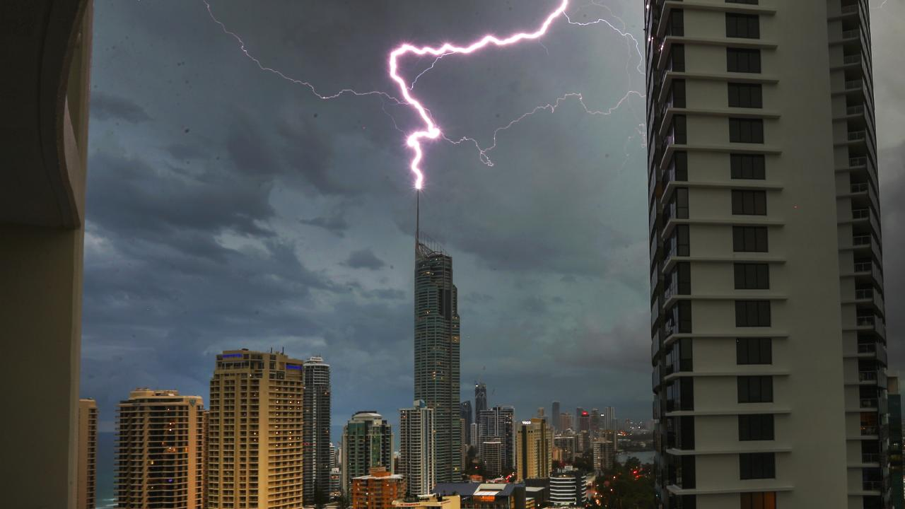 Lightning over the Gold Coast at Surfers Paradise. Picture: NIGEL HALLETT