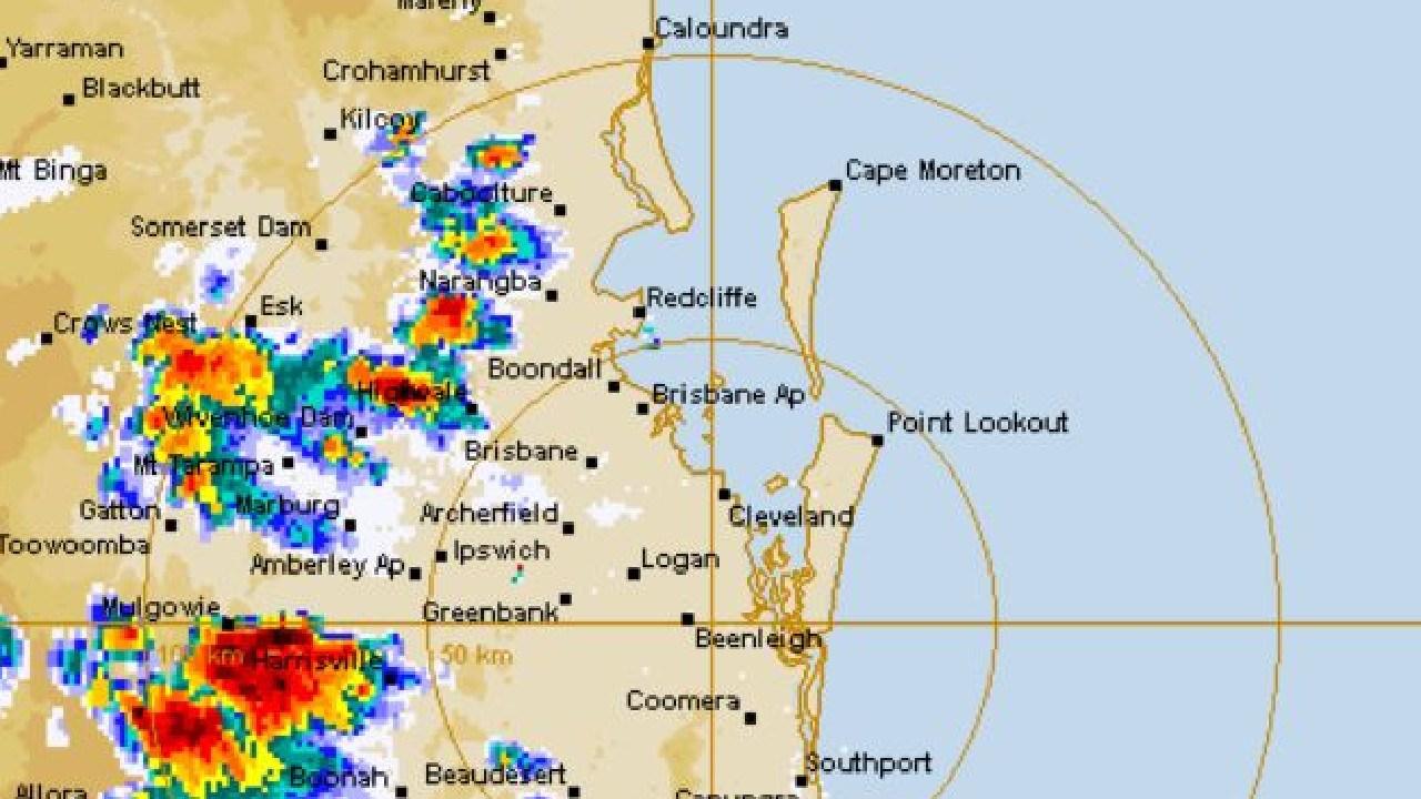 Storms track across southeast Queensland. Photo: BOM