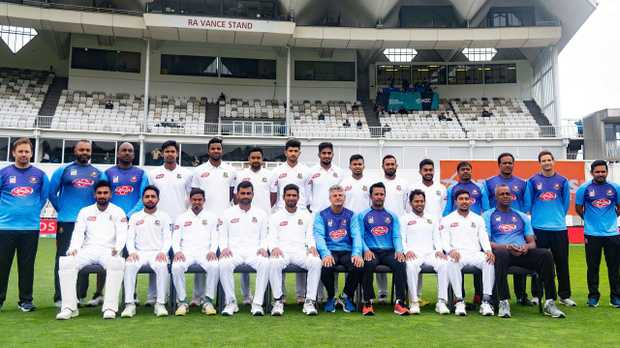 Bangladesh players and officials currently touring New Zealand. (Photo by Marty MELVILLE / AFP)