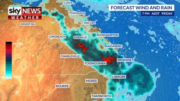 Storms are likely to persist over Queensland this weekend with heavy rain up and down the east coast. Picture: Sky News Weather.