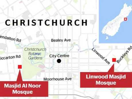 The locations of the two shootings in Christchurch