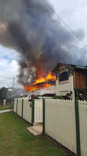 The house ablaze in Maryborough.
