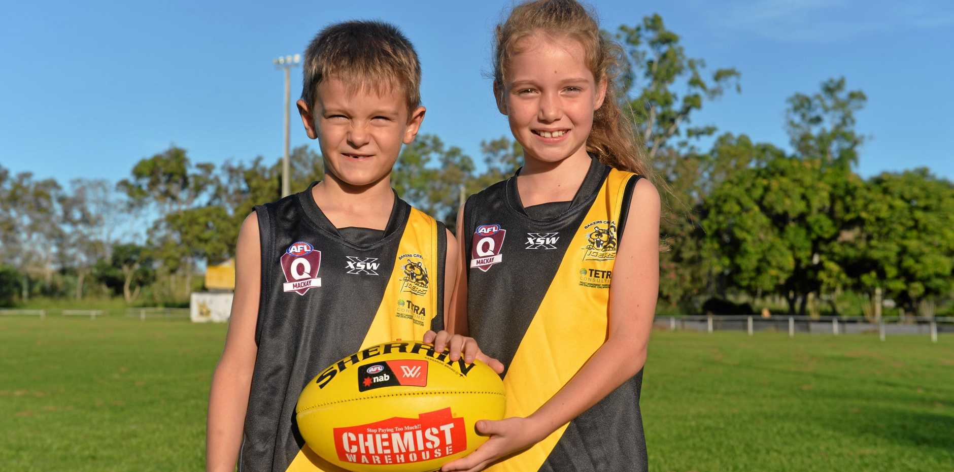 YOUNG TIGERS: Bakers Creek Tigers juniors Oli Willey and Matilda Merkel.