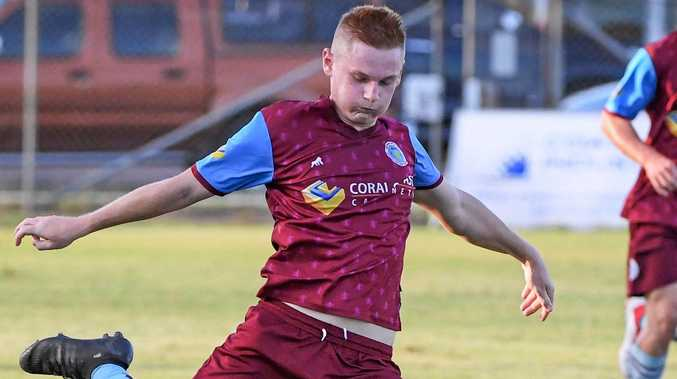 CUP CHALLENGE: Brothers Aston Villa player Jaryd Bennier kicks the ball into attack last week in the Triple M Cup.