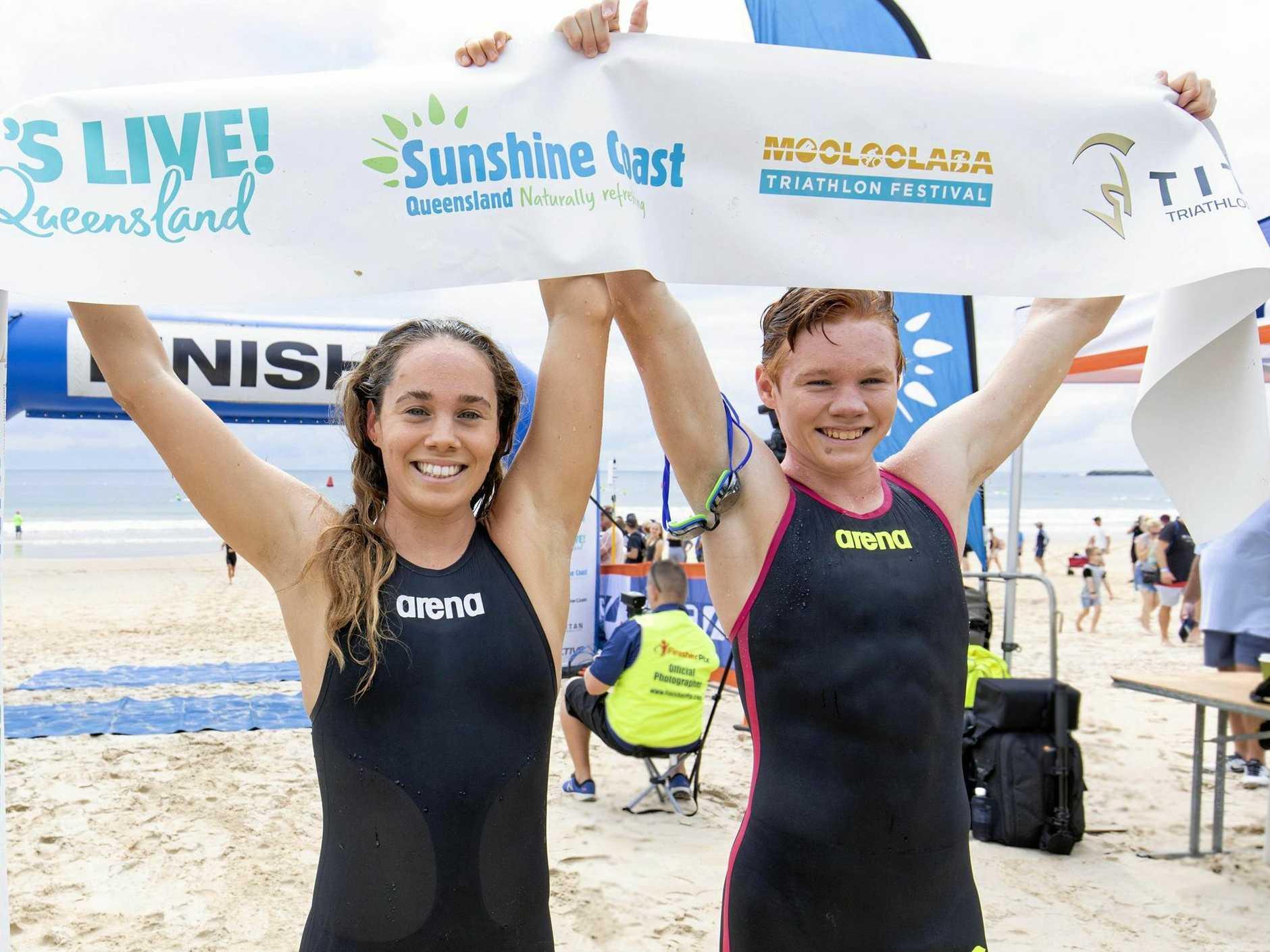 Sunshine Coast youngsters Kolby and Chloe Gubecka won the Titan Mooloolaba Ocean Swim  during the 2019 Mooloolaba Triathlon Festival