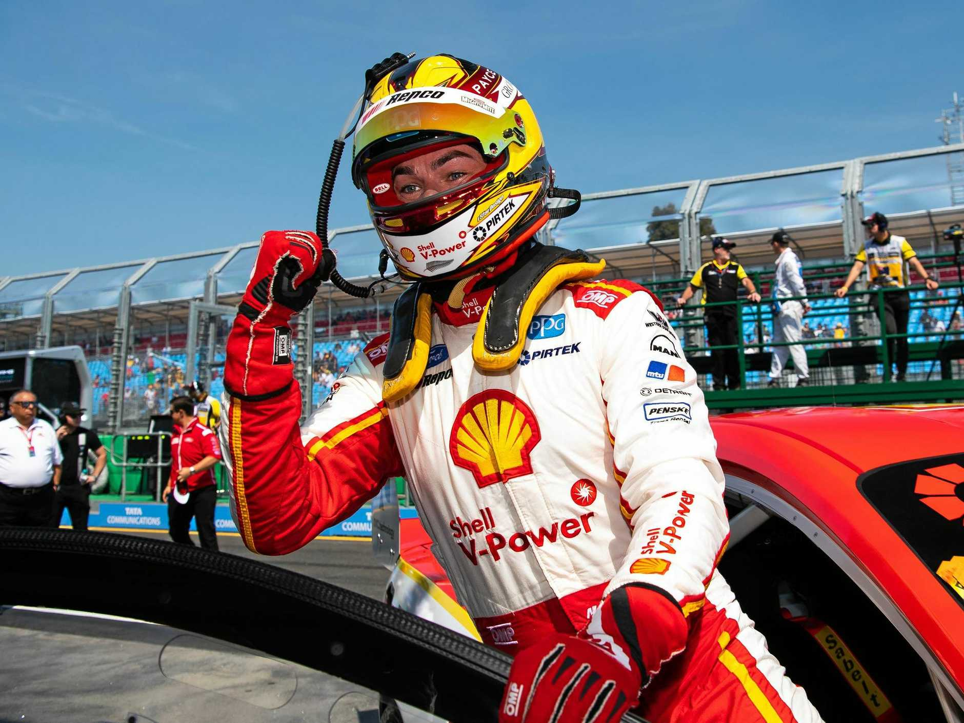Scott McLaughlin shows his joy after winning race two of the Melbourne 400 Supercars Championship Round at Albert Park on Saturday.  Picture: Daniel Kalisz/Getty Images