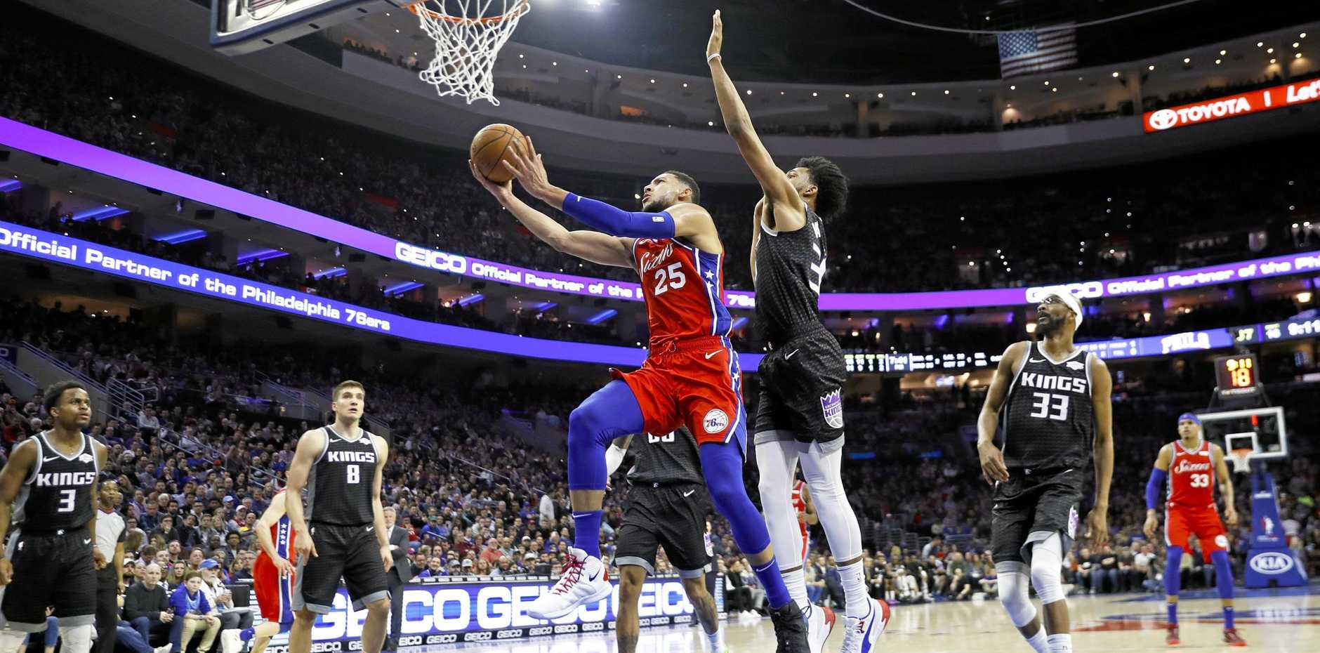 The Philadelphia 76ers' Ben Simmons in action against the Sacramento Kings. Picture: Matt Slocum/AP