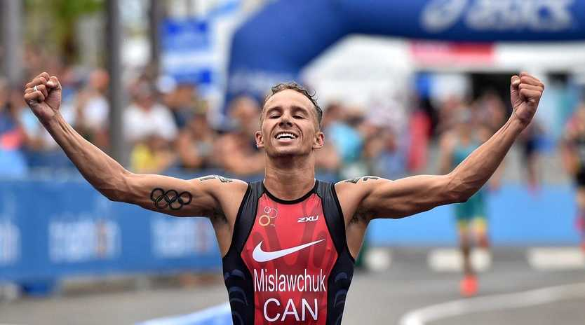 Canadian Tyler Mislawchuk won the men's Mooloolaba ITU World Cup  on Saturday, March 16