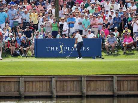 Jason Day plays from the 17th tee during the second round of The Players Championship at TPC Sawgrass. Picture: Richard Heathcote/Getty Images