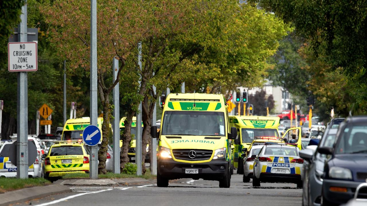 Emergency services after the shooting at the Masjid Al Noor mosque in Christchurch. Picture: AAP