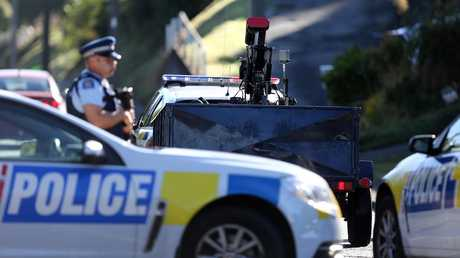 A bomb disposal robot has arrived at Somerville Street in Dunedin where the gunman is understood to have lived. Picture: Dianne Manson/Getty Images