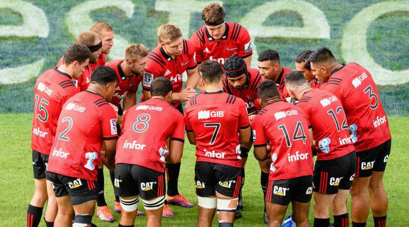 The Crusaders huddle before their last match against the Chiefs. Picture: Getty