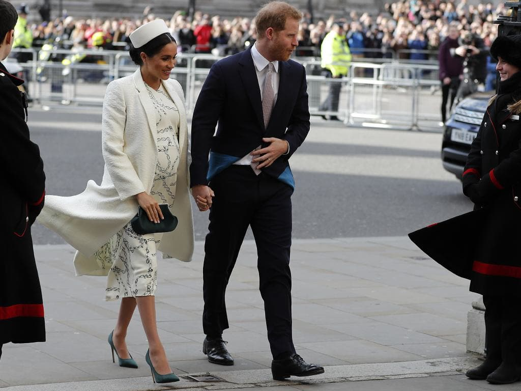 Harry and Meghan arriving for her last official engagement before she gives birth. Picture: AP Photo/Frank Augstein