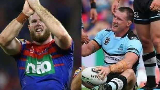 Lachlan Fitzgibbon reacts to Paul Gallen's dropped ball.