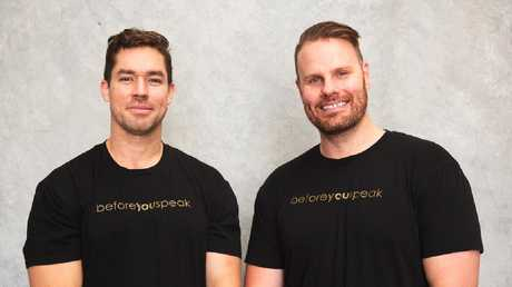 Beforeyouspeak co-founders Jaryd Terkelsen, 30 and Ash Bisset, 31.