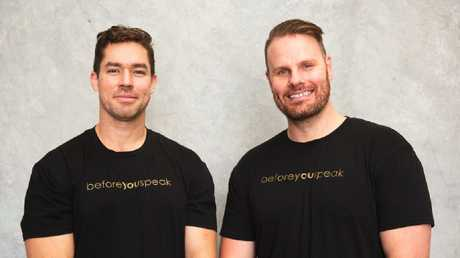 Beforeyouspeak co-founders Jaryd Terkelsen, 30 and Ash Bisset, 31.