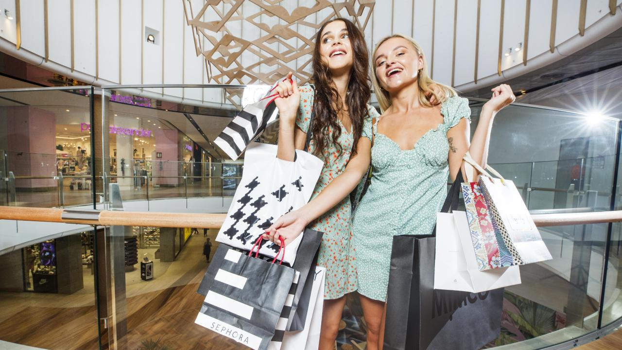 Best friends Brooke Reeves, 21, and Izzie Lunny, 19, are looking forward to shopping til they drop in the new look expanded Sunshine Coast Plaza. Picture: Lachie Millard