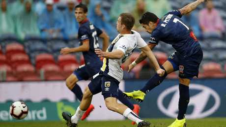 Newcastle Jets forward Dimitri Petratos shoots on goal. Picture: AAP