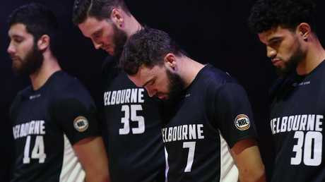 A minute's silence for the Christchurch victims during game three of the NBL Grand Final Series between the Perth Wildcats and Melbourne United on Friday night. Picture: Paul Kane/Getty Images.
