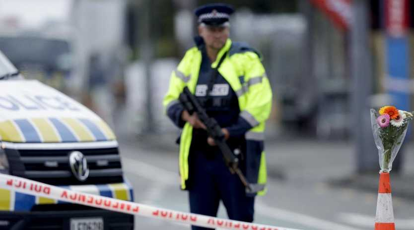 There is still a heavy police presence in Christchurch. Picture: AP Photo/Mark Baker