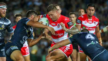 Tariq Sims worked hard for the Dragons but couldn't come up with the matchwinning play. Picture: Getty Images