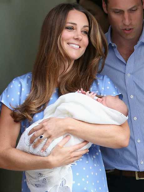 Kate 37 days later with freshly-born George. Picture: Chris Jackson/Getty Images
