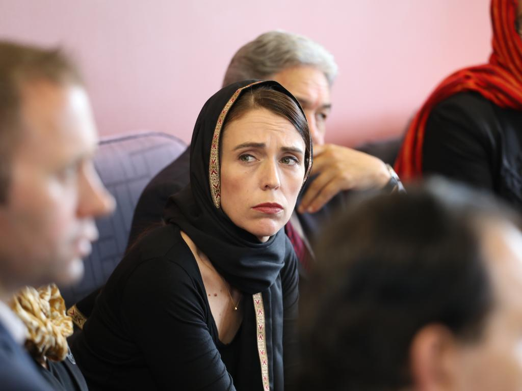 New Zealand Prime Minister Jacinda Ardern meets with members of the Muslim community in the wake of the mass shooting at the two Christchurch mosques. Picture: AAP