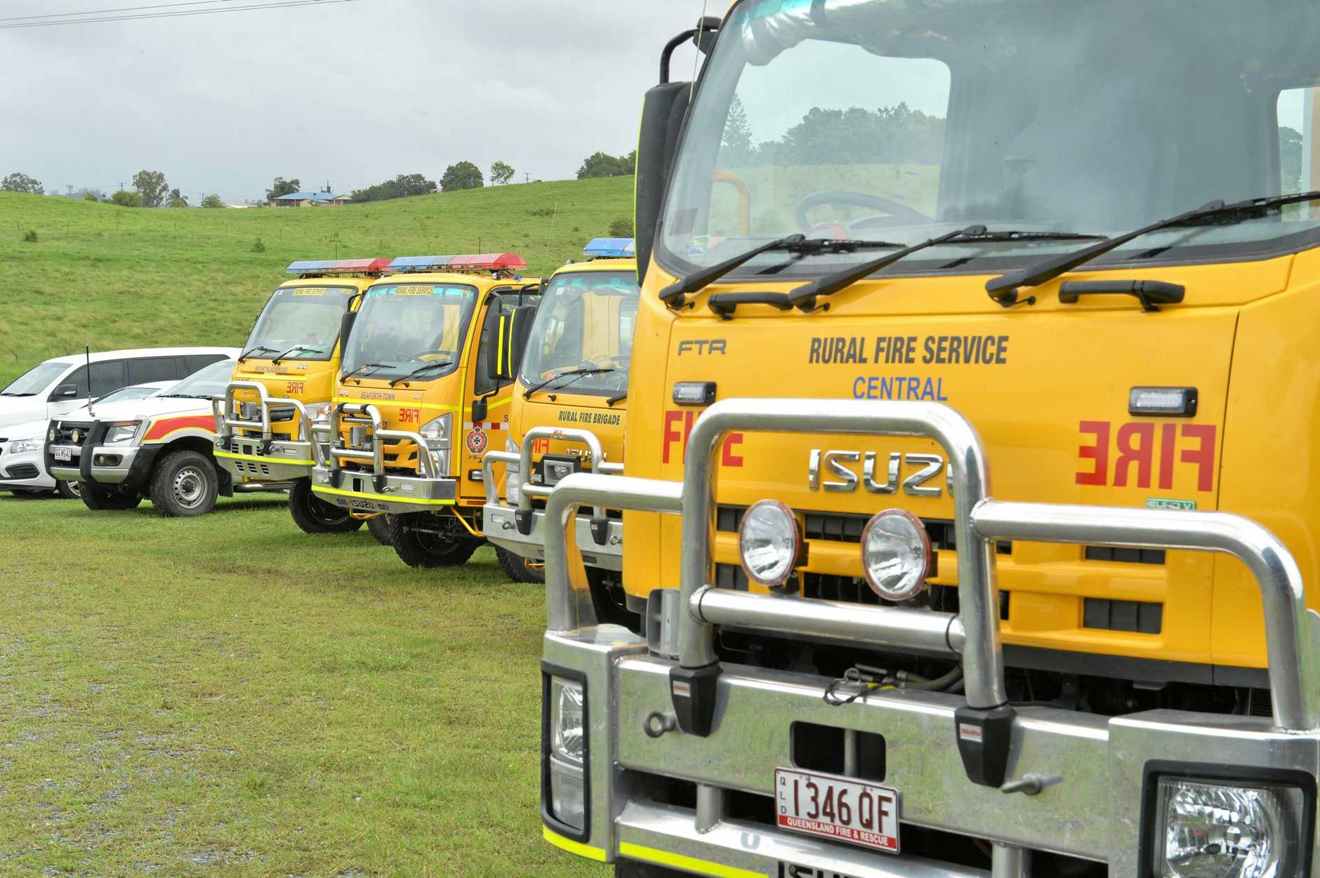 Rural fire trucks from the Mackay region lined up.