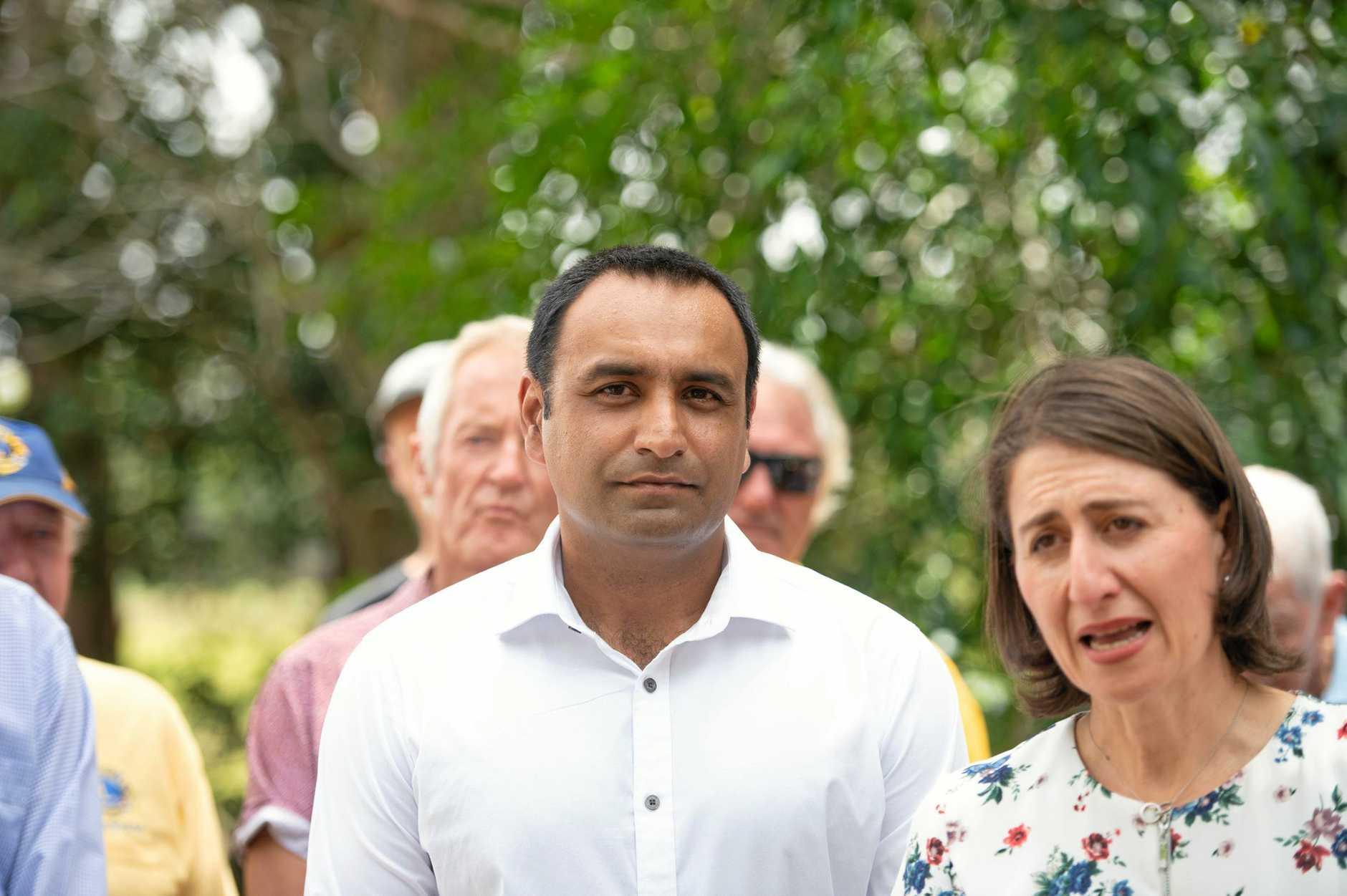 Nationals candidate for Coffs Harbour Gurmesh Singh with Premier Gladys Berejiklian.