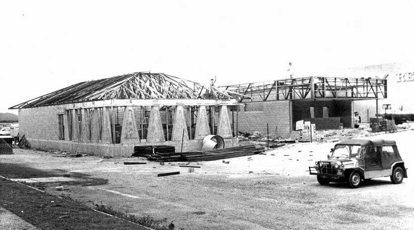 1981: Construction under way on Big Rooster and Pizza Hut at Caneland Shoppingtown in 1981. The site of Pizza Hut (left) is now taken up by the ANZ Bank. One wall and the floor of the original building remains within the bank building.